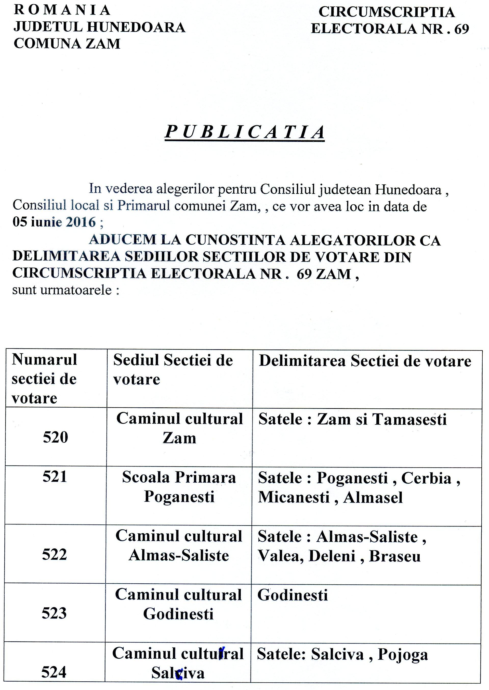 Delimitare sedii sectii votare Comuna Zam - 05 iunie 2016 - Consiliul jud. HD