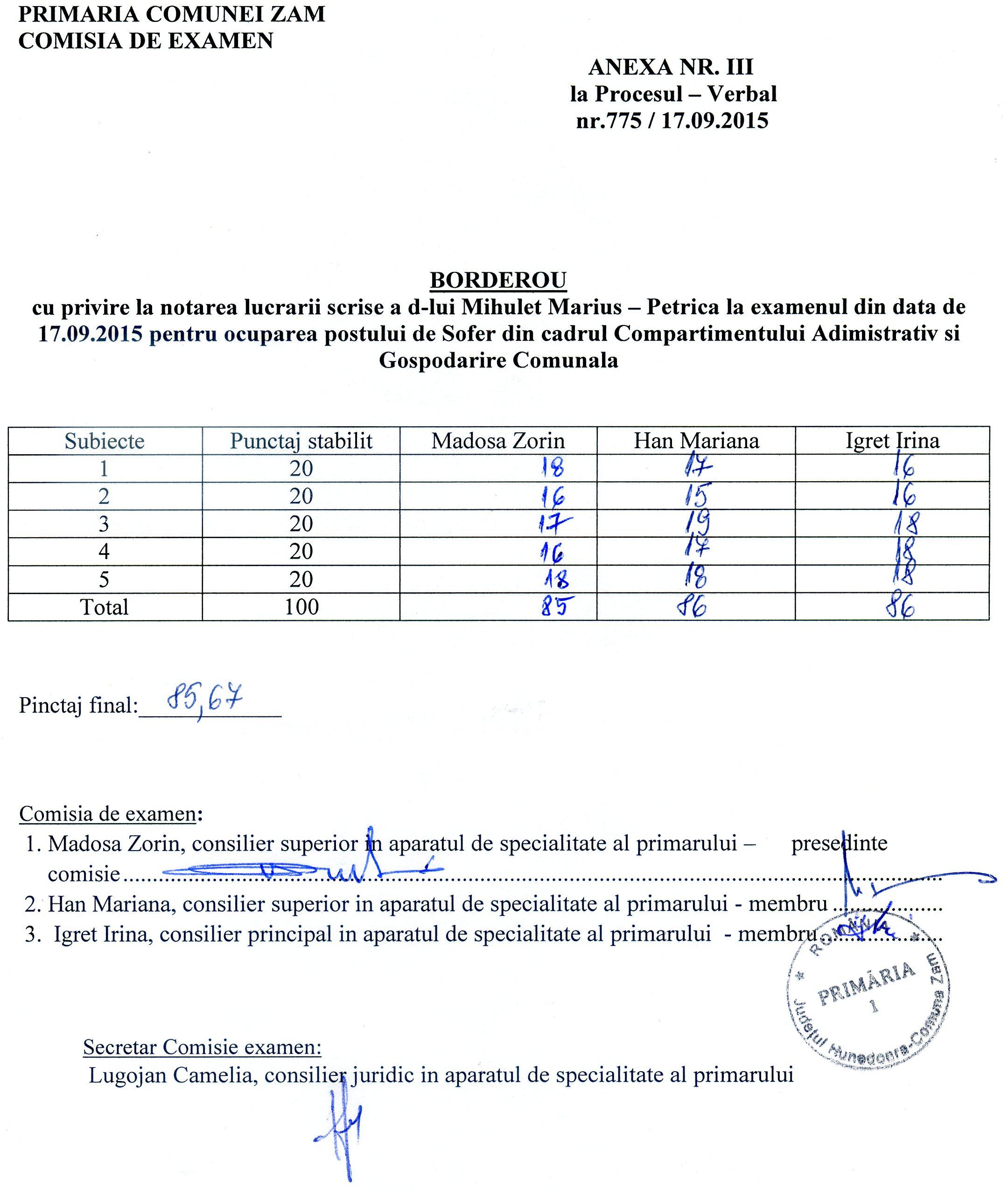 Proces verbal - rezultate proba scrisa, examen sofer.